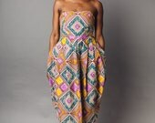 African Printed Strapless Midi Dress