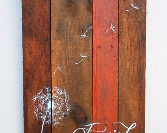 Pallet Art Dandelion Welcome Home Wall Hanging Rustic Shabby Chic - I Wish