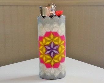 Flower of Life Perler Bead LIGHTER CASE - purple yellow gray grey pearl - sacred geometry