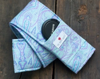 NEW**Camera Strap Cover with Lens Cap Pocket and Padding- Purple Paisley