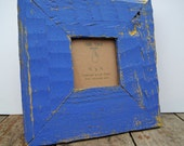 Picture frame from reclaimed wood - 4x4 - Blue and yellow