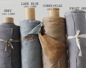 Reversible Linen Fabric / curry and natural flax