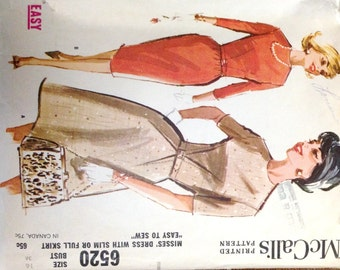"Vintage 1962 McCall's Misses' Dress Pattern 6520 Size 16 (36"" Bust)"