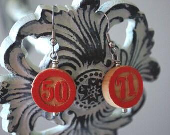 Bingo Marker Earrings Red Wooden