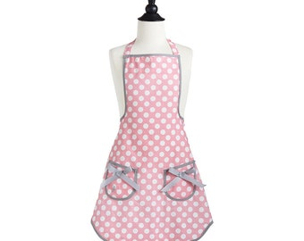 Monogrammed  Apron Pink Polka Dot Child Size Jessie Steele