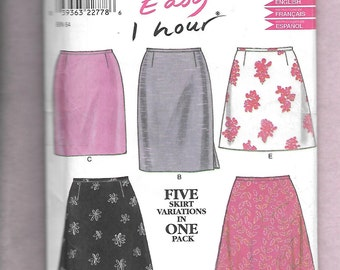 New Look 6843 Misses' Skirts, 5 Styles, And 2 Lengths, Sizes 8 to 18,  UNCUT