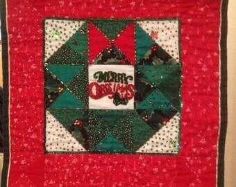 Handmade and Embellished Christmas Wreath Block Merry Chrisimas Wall Hanging