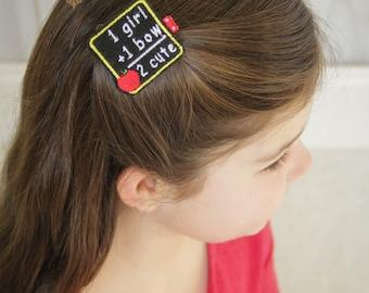 School Girls Felt Hair Clip -Chalkboard Boutique Embroidered Felt Hair Clippie For Girls - Back To School-No Slip Grip