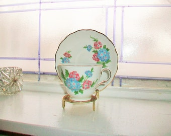 Royal Vale Tea Cup and Saucer Pink and Blue Verbena