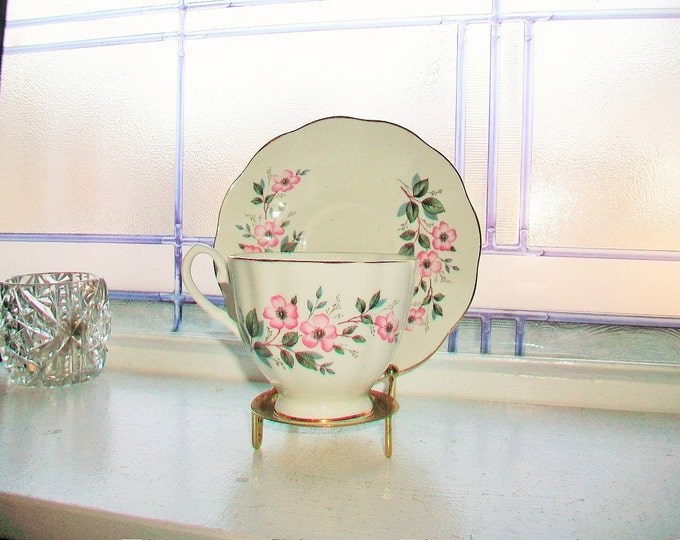 Taylor and Kent Tea Cup and Saucer Vintage Bone China Made in England Pink Flowers