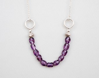 Purple Glass Necklace, Beaded Necklace, Glass Necklace