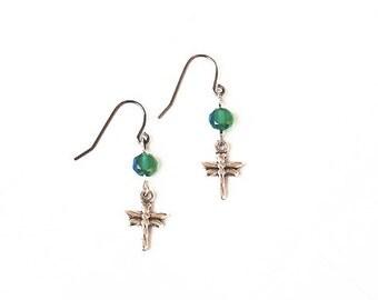 Dragonfly Earrings, Beaded Green Earrings, Dangle Romantic Earrings, Crystal Earrings