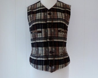 90's Ralph Lauren Equestrian Plaid Wool Button Front Vest Top Shirt M