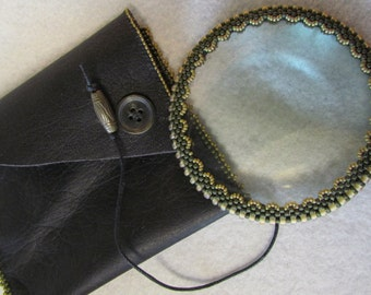 Magnifying Glass with Leather Pouch, Beaded and Handstitched