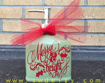 Merry & Bright Christmas Ceramic Soap Dispenser, Christmas Present, Hostess Gift