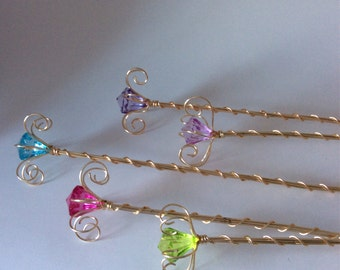 5 fairy wands, fairy party set, princess sceptres, fairytale party favors, jewel wire wands