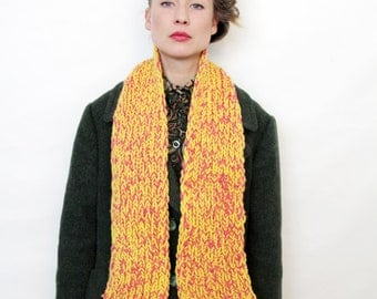 Vintage Pink and Yellow Hand Knit Scarf