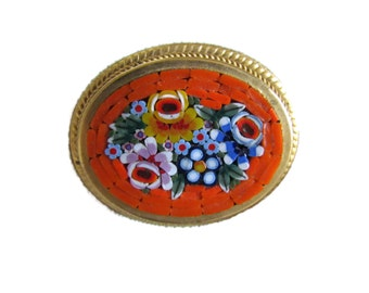 Mosaic Brooch Flower Brooch Mosaic Pin Mosaic Jewelry Antique Jewelry Mirco Mosaic Brooches Italian Victorian Jewelry