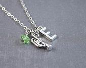 Trumpet Necklace - Music Jewelry - Trumpet Jewelry - Band Jewelry - School Necklace - Personalized Necklace - Initial Jewelry