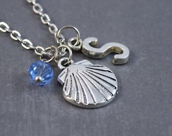 Seashell Necklace, Summer Jewelry, Shell Jewelry, Personalized Initial Jewelry, Seashell Jewelry,Seashell Pendant, Beach Necklace