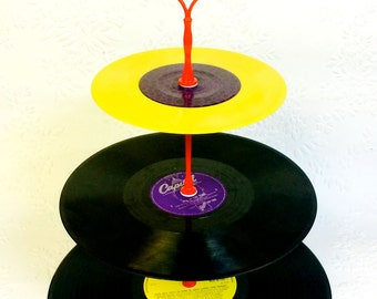 3 tier Vinyl Record Cupcake Stand Retro Cake Stand Purple Yellow Purple with Red fitting