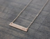 Rose Gold Mom Hand Stamped Bar Necklace Hammered Mommy Necklace Personalized Horizontal Bar