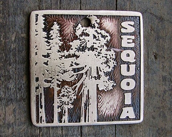 Mighty Sequoia Pet Tag with Your Pet's Name, Etched Brass Dog Tag 1.25 in square