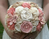 Peach Bridal Bouquet, Peach Bride's Bouquet, Peach Bouquet, Peach Sola, Sola Flowers, Lace Flowers, Burlap Flower Bouquet, Shabby Chic