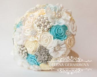 Brooch Bouquet. Ivory blue Fabric Bouquet, Unique Wedding Bridal Bouquet