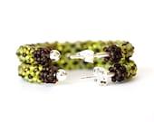 Seed bead Hoop Earrings, Silver Hoop Earrings, Chartreuse earrings