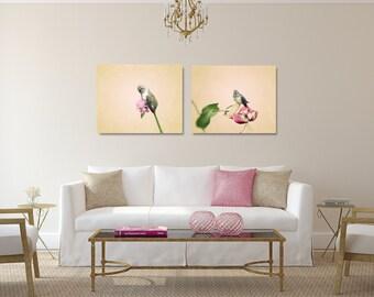 Canvas Set, Hummingbird Canvas Art, Pink Photography Canvas, Bird Wall Art, Two Canvas Set, Hummingbird Photo