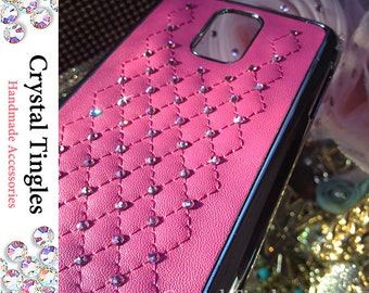 Classic Quilted Pattern Leather Case Made with Swarovski Elements Crystal Diamond For SAMSUNG Galaxy S4 White Red Lavander Purple