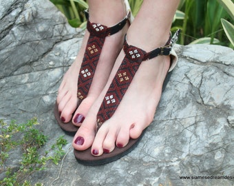 Ethnic Womens Sandals T Strap In Hand Woven Burmese Kachin Textiles Brown Vegan Flats- Sita