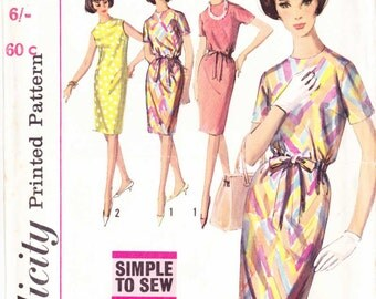 PATTERN Simplicity 5798 Fitted sheath dress jewel neckline with/out waistline gathering casing Size 14 Vintage