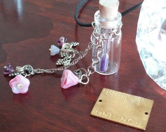 Time in a Bottle, Tiny Hour Glass inside a Tiny glass bottle, With Silver Chain, Crystal Beads, Grape Charms, Suspended on a 24inch Cord