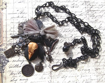 Rusty Black Charm Enhancer Necklace With Resin Bird Head & Charms