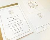Art Deco Wedding Invitation, Mid Century, Custom Wedding Invitation, Monogram, Simple, Modern, Letterpress, Minimal, Elegant, Sunburst, Gold