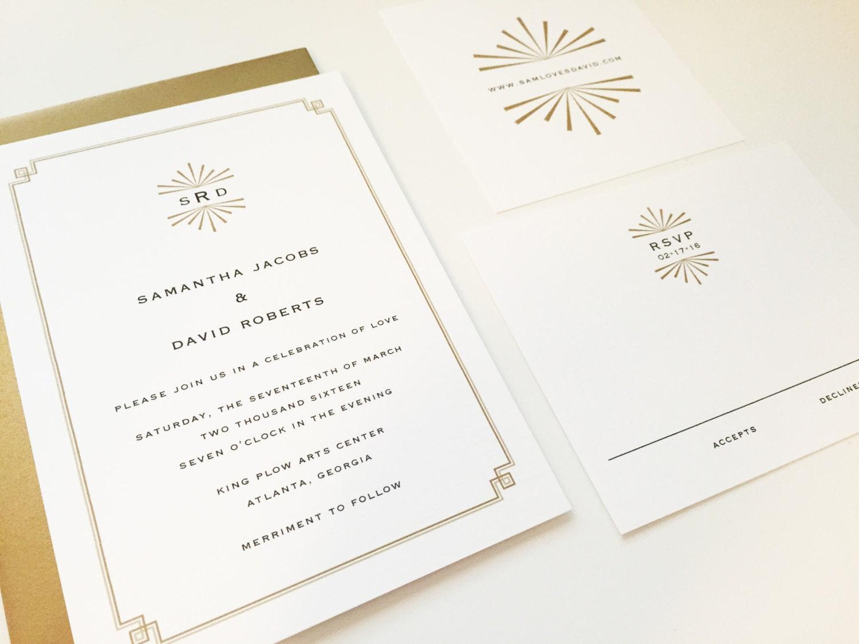 Deco Wedding Invitations: Art Deco Wedding Invitation Mid Century Custom By DHFitzgerald