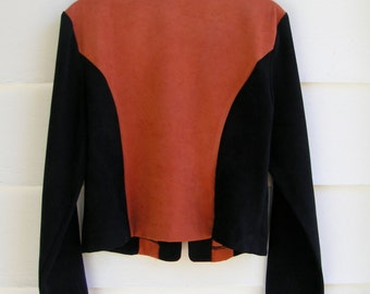 80s Soft Burnt Sienna and Black Zip Jacket MEDIUM