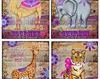 Funky Wall Art ~ Girls bedroom Decor ~ TweenTeen  Bohemian Art Print ~ inspirational ~ Elephant Giraffe Camel Tiger ~ Moroccan Theme Art