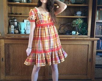 Orange Gingham Dress 70's Vintage - Cotton Plaid Prarie Dress