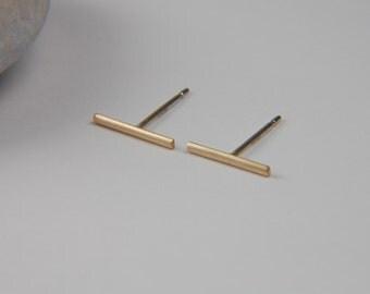 Gold Line Earrings Solid Gold Earrings Gold Bar Earrings Modern Earrings 14K Gold Studs Gold Minimalist Earrings