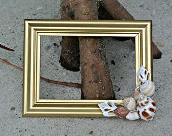 Seashell Picture Frame 3.5 x 5.5 -Florida Beach Shells Gold Coastal Embellishment Gold Home Decor Nautical Wedding Gifts for her -TheSandbar