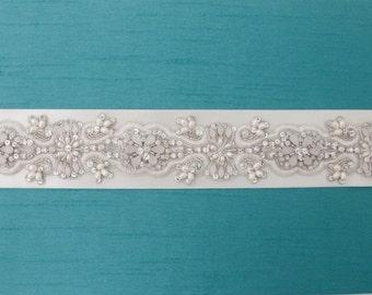 Hand Beaded Wedding Sash, Ivory Bridal Belt, White Opal Crystal Beaded Sash, Crystal and Pearl Wedding Belt, Designer Trim-CUSTOM ORDER