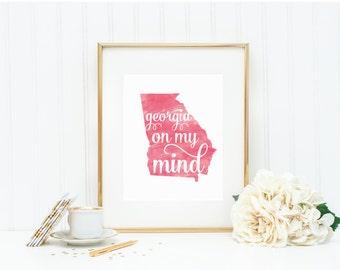 "Georgia State Watercolor Print Art - ""Georgia on My Mind"" - Mirabelle Creations"