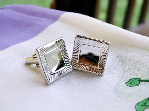 Vintage swank modernist concave square cufflinks men 39 s for What is swank jewelry