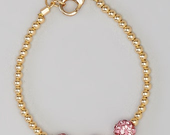 Infant bracelet, baby bracelet, child toddler bracelet gold filled sterling silver pave beads (B101)