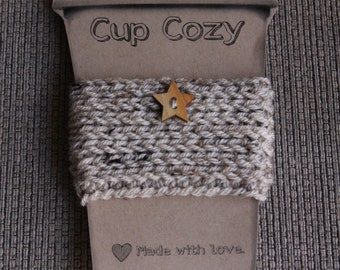 Button Cup Cozy in Oatmeal - Ready to Ship
