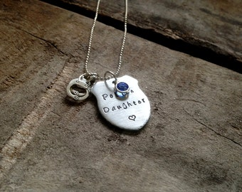 Police Daughter Necklace, Personalized Hand Stamped Police Officer Necklace, Trooper, Deputy, Sheriff, Perfect for Mom or Dad's Little Girl