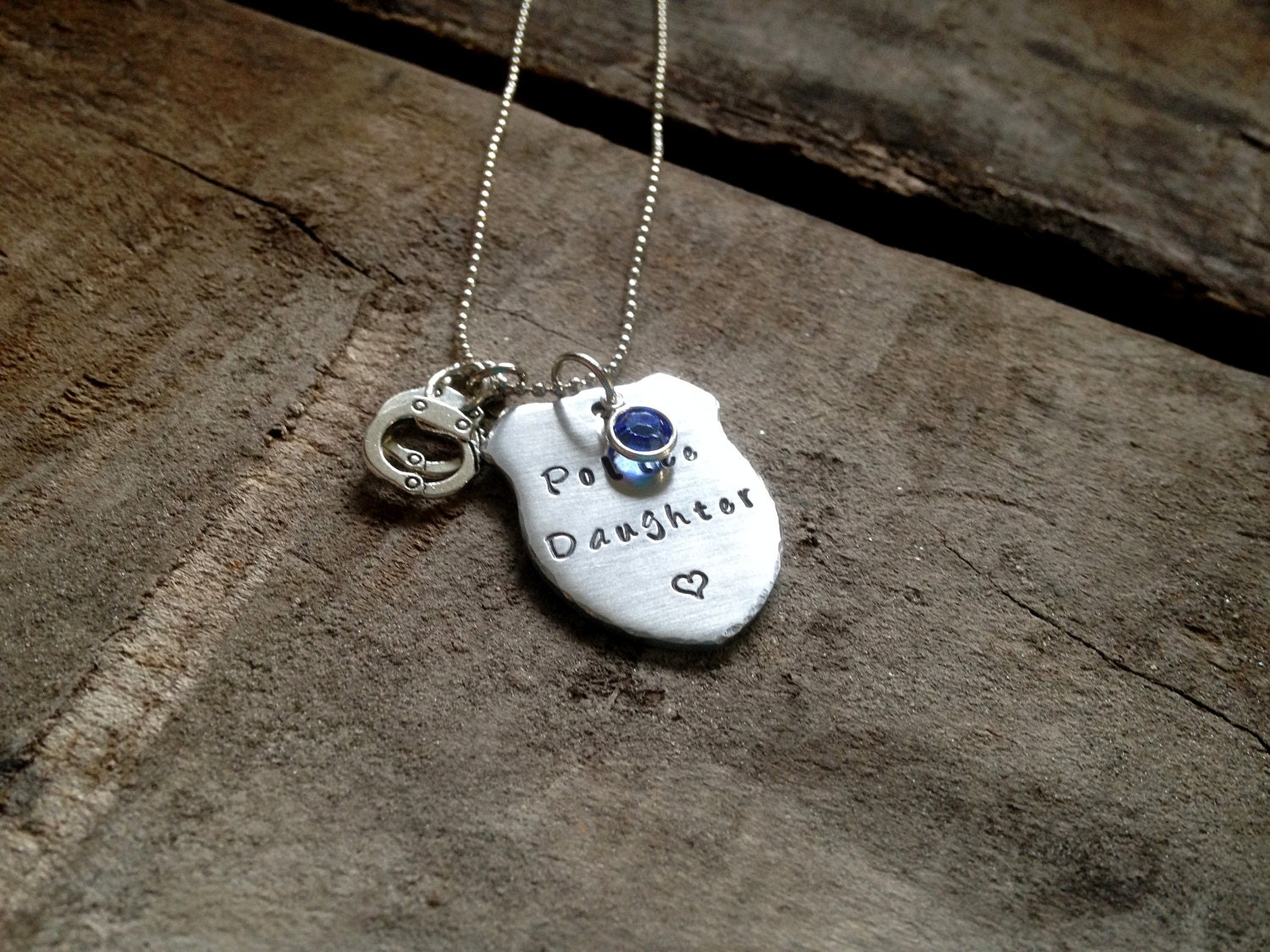 Police Daughter Necklace Personalized Hand Stamped Police